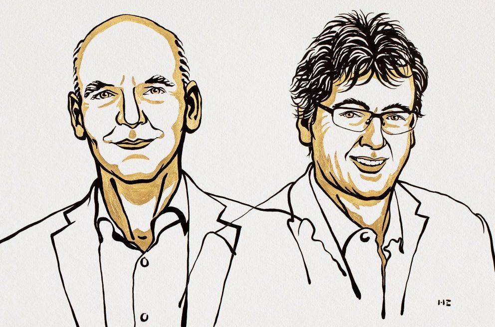 Benjamin List, David Macmillan. Ilustracija: Niklas Elmehed/Nobel Media