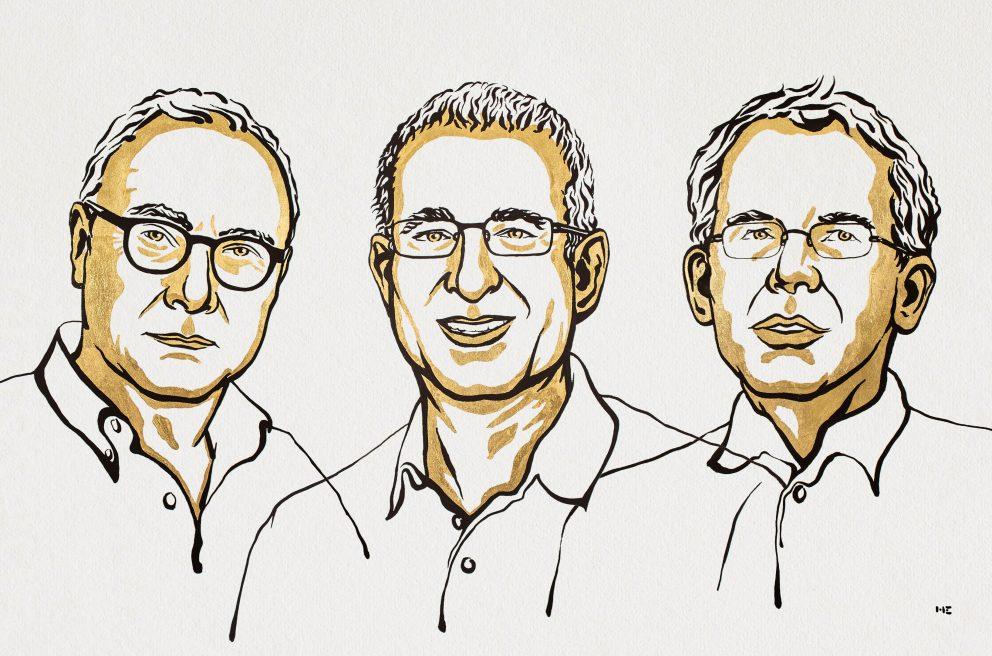 Nobelova priznanja za ekonomijo so prejeli Card, Angrist in Imbens. Ilustracija: Niklas Elmehed/Nobel Media