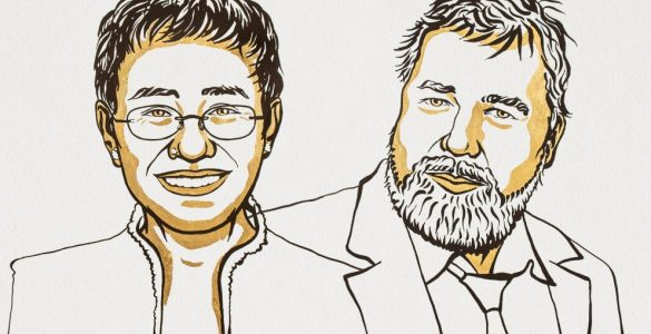 Maria Ressa and Dmitry Muratov. Ilustracija: Niklas Elmehed/Nobel Media