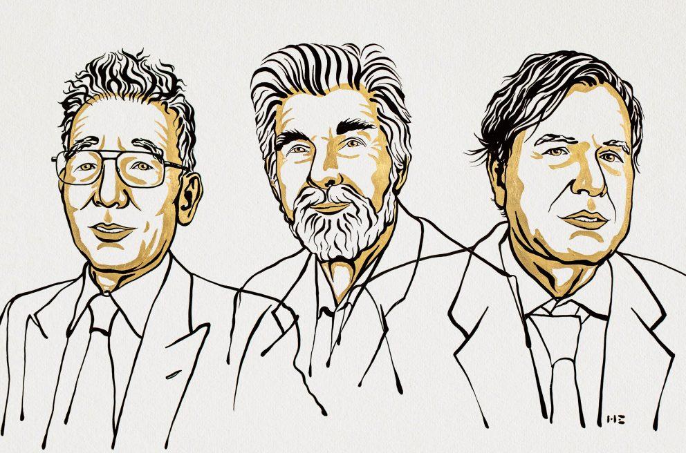 Syukuro Manabe, Klaus Hasselmann, Giorgio Parisi. Ilustracija: Niklas Elmehed/Nobel Media